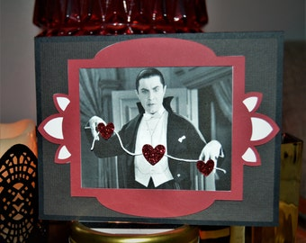 Dracula Heart Banner Horror Greeting Card
