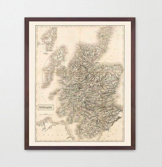 Scotland Map - Scotland  -  Scotland Art - Map Decor - Scottish Art - Ireland Art - Scotland  Decor - Scotland Wall Art - Old Map - Glasgow
