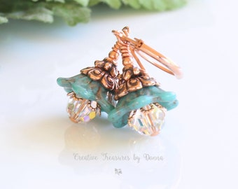 Copper Earrings, Czech Turquoise Glass Bell Flowers, Swarovski Crystals, Turquoise Flower Earrings, Victorian Earrings, Mother's Day Gift