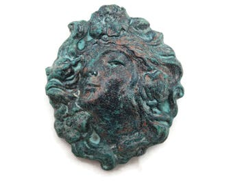 Art Nouveau Cameo Brooch - Verdigris Look, Costume Jewelry