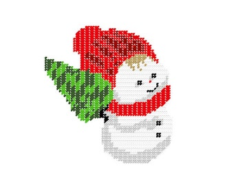 Plastic Canvas SnowBaby with Christmas Tree Instant Download
