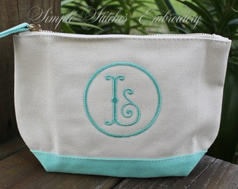 Monogrammed Canvas Cosmetic Bag, Cosmetic Bag, Personalized Cosmetic Bag