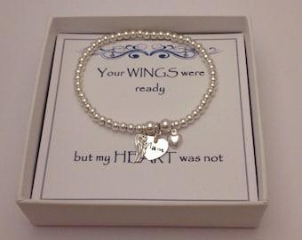 Keepsake Remembrance Sterling Silver Heart & Angel Wing Stretch Bead Bracelet: Your WINGS were ready but my HEART was not