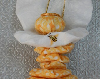 Gelb-Garten-Engel Fee-Ornament mit Hummel