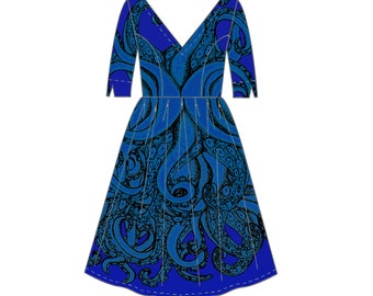 Vee Tentacles dress with sleeves in blue or charcoal available! Size 6 - 36