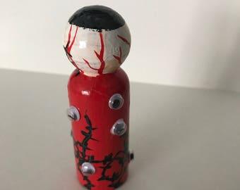 Birthday Gift, Red Monster, Eyeball Monster, Goth Doll, Monster Art, Wood Monster, Figurine, Artful Gift, Eye Monster, Unique Art Gift