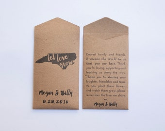 North Carolina Custom Seed Packet Wedding Favors - State Flower Wedding Favor Seed Envelopes - Custom Seed Packets - Many Colors Available
