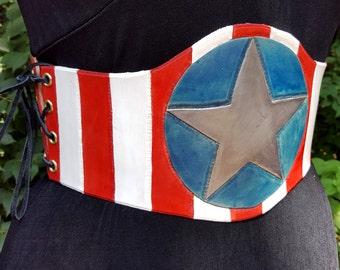 America Waist Cincher - Star and Stripes Patriotic Leather - Comic Costume Renaissance Medieval