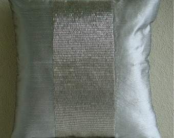 "Designer Silver Cushion Covers, 16""x16"" Silk Pillow Covers, Square  Metallic Beads Centered Pillows Cover - Silver Center"