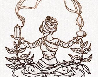 Coffee Goddess Embroidered Flour Sack Hand/Dish Towel