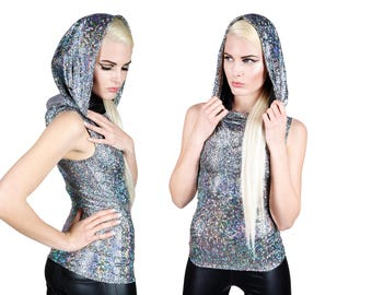 Hooded Tank Top; Silver, Futuristic Clothing, Holographic Clothing, Burning Man Clothes, Rave Top, Dancewear, EDM Rave Wear, LENA QUIST