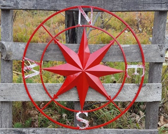 Red Compass Rose, Large Metal Wall Art, Nautical Wall Art, Nautical Wall Compass, Metal Nautical Compass, Nautical Decor, Metal Wall Decor