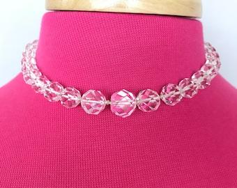 Genuine crystal quartz choker necklace
