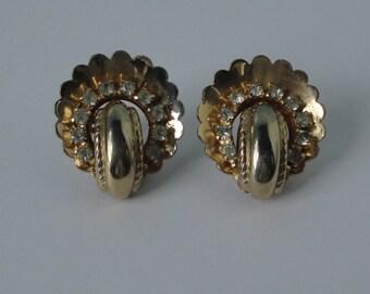 Coro Gold tone with clear rhinestones Earrings