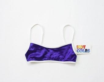 90s Tube Top / 1990s Bikini Bra / Health Goth Active Sportswear Bralette / NOS Sporty Bathing Suit Top / Shiny Wet Look Iridescent / XXS XS