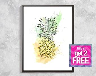 Pineapple Print, Pineapple Watercolor Print, Tropical Print, Tropical Wall Decor, Pineapple art, Pineapple painting, Digital download art