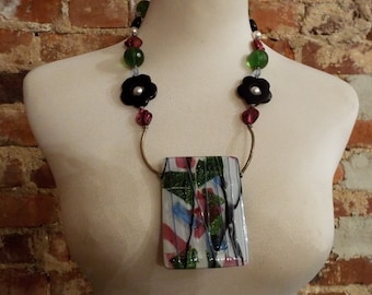 Chunky Fused Art Dichroic Glass Statement Necklace