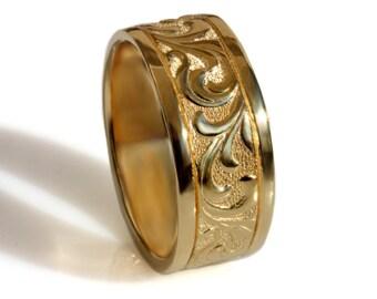 14k Yellow Gold Scrolls band, Art Deco wedding band, women's wedding band, men's single band, scrolls leaf Vintage design ,wide Wedding Band