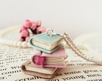 Stacked Books Necklace Polymer Clay, Miniature Clay Jewelry, Silver Plated Chain