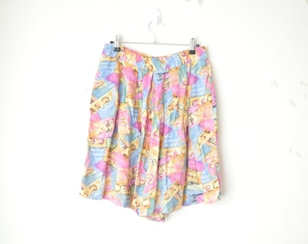 abstract colorful high waist cotton vintage short 80s // L