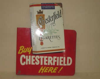 Vintage 1960's Chesterfield L&M Cigarettes Lithographed Double Sided Metal Advertising Sign