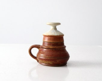 Piatt studio pottery oil lamp, vintage ceramic candle