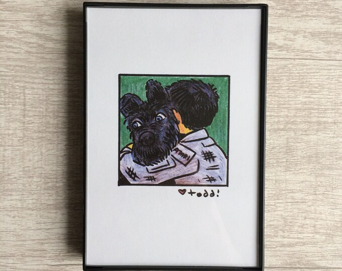 Isle of Dogs - Atari and Chief, Print, 4 x 6 inches, Wes Anderson, movies, film geek, framed artwork, wall decor, art