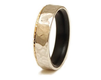 Silver Gold and ebony ring Wedding 18K Gold and Silver Wood Wedding Band , Men's Wedding Band , Engagement Wood Ring , 5th Anniversary