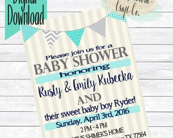 Baby Shower Invitation,Blue,Pink,Gender Neutral,Customizable,Banner,Chevron, Polka Dots,Couples Shower,Diaper Shower,New Baby,Sprinkle,DIY