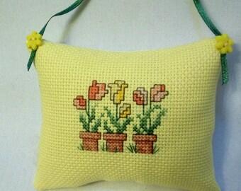 Tulip Cross Stitch Ornament Spring Flower Hanging Mini Pillow