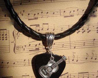 Acoustic Guitar Necklace, Braided PU Leather Cord, Tibetan Silver Braid Bail, Choice 12 Colors Guitar Pick, Music Band Chain