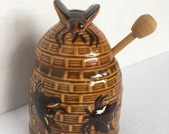 Vintage Beehive Honey Jar with Dipper
