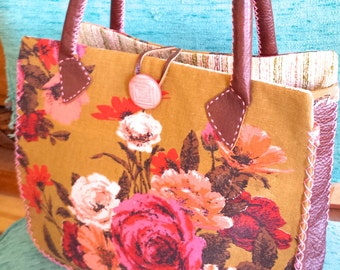 Hand Stitched Leather & Vintage Fabric Purse - Mid Century Retro Style!