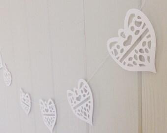 Wedding Garland, Heart Garland, White Wedding Garland, Lace Hearts, Paper Decoration, bridal shower, rehearsal dinner, Wedding Decor
