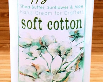 Scented Shea Butter Hand Lotion - Soft Cotton Light Clean Unisex Fragrance - Hand Cream for Knitters Happy Hands Knitting Crochet Sewing