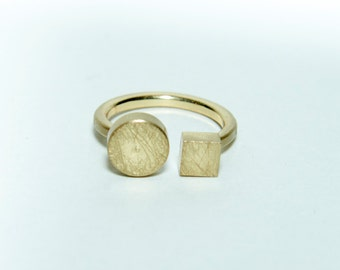 Handmade handbrushed geometric brass ring