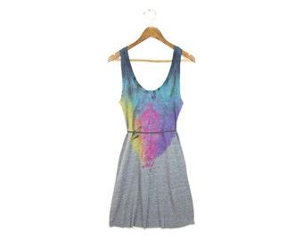 "Grey Spectrum Rainbow Dress - Original ""Splash Dyed"" Hand PAINTED Scoop Neck Tunic Dress in Heather Grey - Women's Size S-XL"