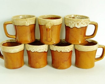 Gold / Brown Drip Coffee Mugs