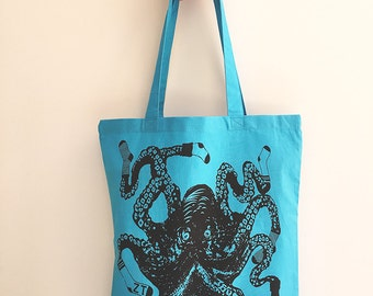Sock OCTOPUS Eco-Friendly Market Tote Bag - Hand Screen printed (Ships FREE!)