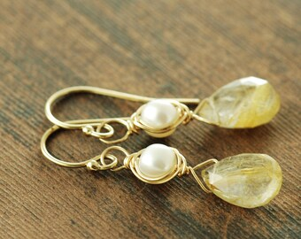 Gold Rutilated Quartz Pearl Drop Earrings, Delicate Gemstone Dangle Earrings, Gold Wedding Jewelry