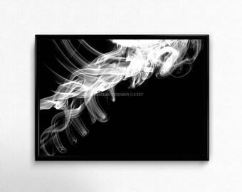 Incense Art Print, Digital Photography, Smoke Art, Abstract Art, Contemporary Wall Art, Home Decor