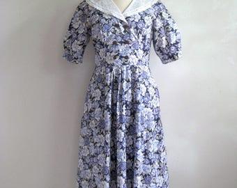 Floral Garden Party Dress 80s LAURA ASHLEY Vintage Navy Blue Purple Cotton Pleated Dress 10US