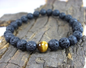 Lava beads bracelet and Tiger's eye