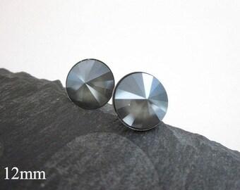 Grey Studs, Grey Stud Earrings, Women's Grey Jewelry, Round Grey Earrings, Matte Grey Jewelry, Light Grey Earrings, Grey Post Earrings, Gift