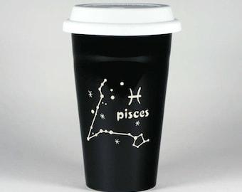 Pisces Zodiac Travel Mug - Black insulated ceramic coffee cup w/ lid