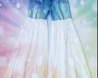 Pure Flow -Upcycled Tiered Bell Bottom Gypsy Leg Flared Jeans RESERVED