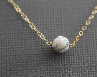 gold choker, silver choker, dainty choker, simple choker, marble choker, white marble, white howlite, simple necklace, dainty necklace