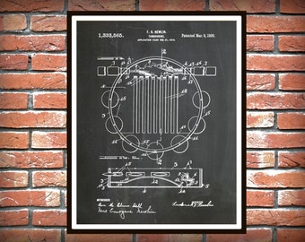 Patent 1920 Tambourine - Art Print - Poster - Musical Instrument - School Music Room Art - Home - Rock Band Art - Orchestra Wall Art
