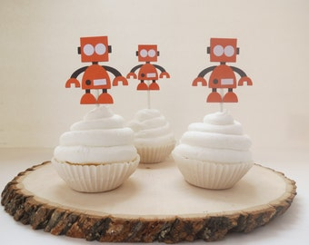 Robot and Gears - Cupcake Toppers - Set of 12 - Orange