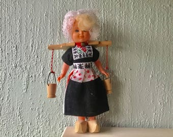 Vintage Dutch MilkMaid doll, souvenir traditional costume from Holland, tourist collectible doll, figurine, wooden clogs